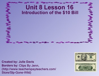 Everyday Math Kindergarten 8.16 Introduction of the $10 Bill