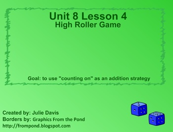 Everyday Math Kindergarten 8.4 High Roller Game