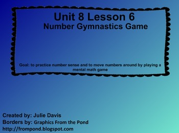 Everyday Math Kindergarten 8.6 Number Gymnastics