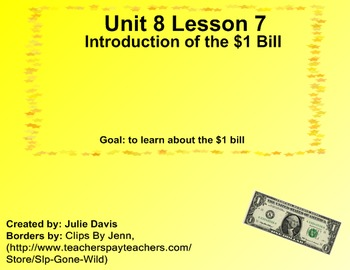 Everyday Math Kindergarten 8.7 Introduction of the $1 Bill