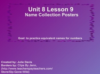 Everyday Math Kindergarten 8.9 Name Collection Posters