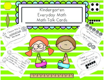 "Everyday Math Kindergarten ""Math Talk"" Cards"