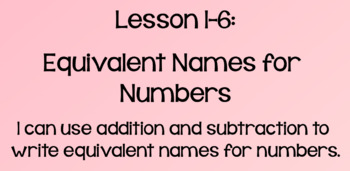 Everyday Math Lesson 1-6: Equivalent Names for Numbers