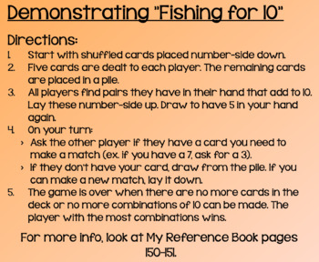 Everyday Math Lesson 1-7: Playing Fishing for 10