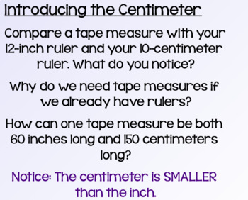 Everyday Math Lesson 4-10: The Centimeter