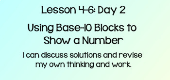 Everyday Math Lesson 4-6 Using Base-10 Blocks to Show a Number DAY 2