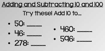 Everyday Math Lesson 5-6: Mentally Adding and Subtracting 10 and 100