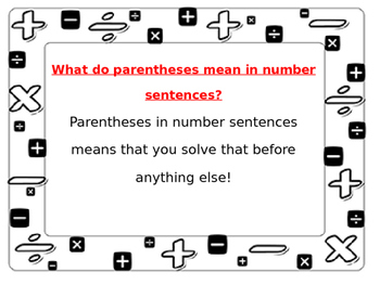 Everyday Math Lesson 7.4 Parenthesis in Number Sentences