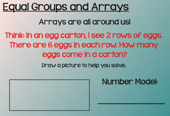 Everyday Math Lesson 8-8: Equal-Groups and Array Number Stories
