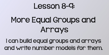 Everyday Math Lesson 8-9: More Equal Groups and Arrays