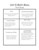 Everyday Math Menu-Unit 8