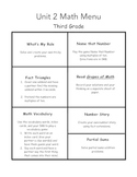 Everyday Math Menus-Unit 2, 3, 4