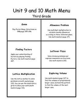 Everyday Math Menus-Unit 9 & 10