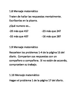 Everyday Math Message Spanish