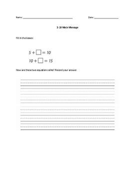 Everyday Math Messages (grade 1)
