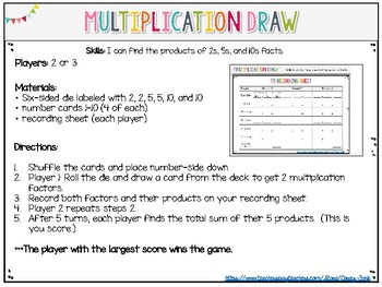 Everyday Math Multipication Draw Game Practice multiplication math facts