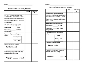 Everyday Math Parts-and-Total Number Story Checklist