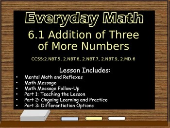 Everyday Math Power Point Lesson Unit: 6 Lesson:1 Second Grade