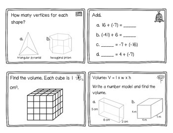 Everyday Math Review Task Cards - Chapter 11