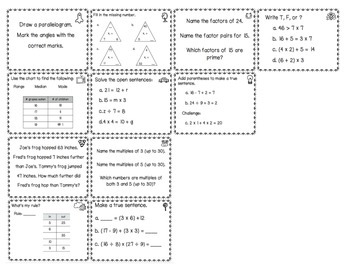 Everyday Math Review Task Cards - Chapter 3
