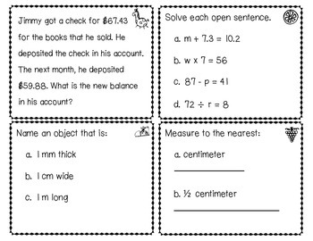 Everyday Math EM3 Review Task Cards - Chapter 4
