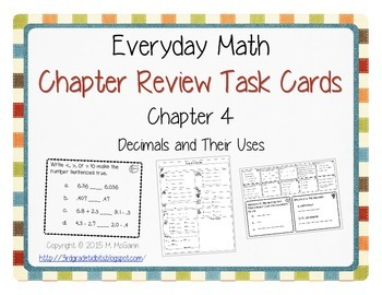 Everyday Math Review Task Cards - Chapter 4