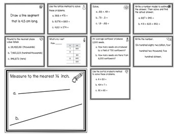 Everyday Math EM3 Review Task Cards - Chapter 5