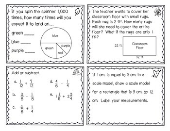 Everyday Math Review Task Cards - Chapter 8
