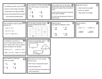 Everyday Math Review Task Cards - Chapter 9