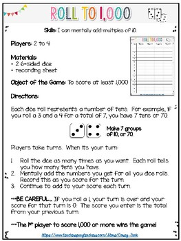 Everyday Math Roll to 1000 Math Game EM3/CCSS  Mentally add multiples of 10