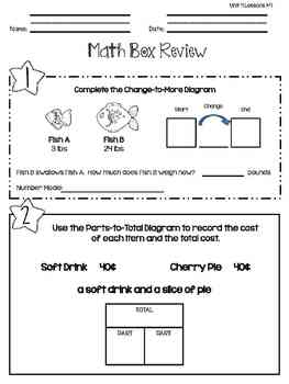 Everyday Math: Second Grade Math Box Reviews (Units 4 and 5)