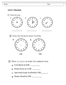 Everyday Math - Second Grade- Unit 4 Review