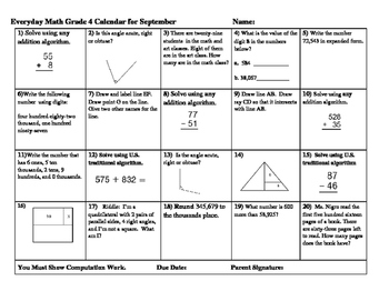 Everyday Math Grade 4 FOURTH EDITION  September Calendar