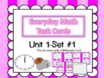 Everyday Math Task Cards. Unit 1-Set #1 for 2nd Grade