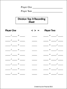 Everyday Math Top It Recording Sheets by My Journey to 5th ...