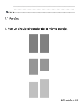 Everyday Math-Unit 1 Kindergarten Exit Slips in Spanish