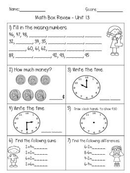 Everyday Math Unit 1  Math Box Review