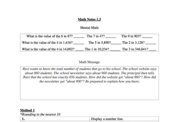 Everyday Math Unit 1 Notes Sheets: 4th Grade
