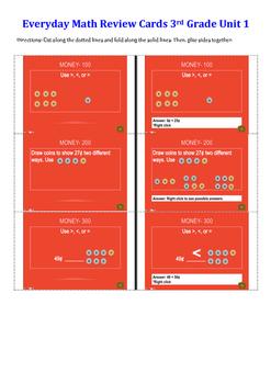 Everyday Math Unit 1 Review Cards Grade 3