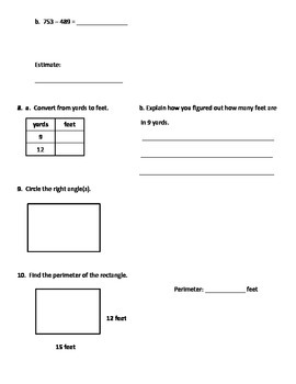 Everyday Mathematics Unit 1 Test Review Homework for Common Core 2015, Grade 4