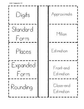 Everyday Math Unit 1 Vocabulary Interactive Notebook
