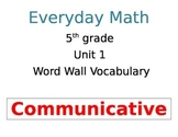 Everyday Math Unit 1 Vocabulary Word Wall