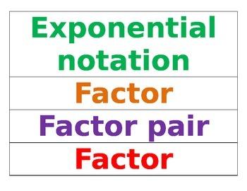 Everyday Math Unit 1 Vocabulary Word Wall