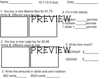 Everyday Math Unit 10 grade 2 quiz