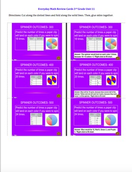 Everyday Math Unit 11 Review Cards Grade 3