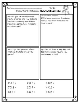 Everyday Math Grade 3 Unit 2 Practice Pages