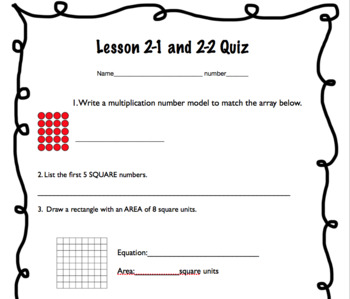 Everyday Math Unit 2 Quizzes/Exit Tickets