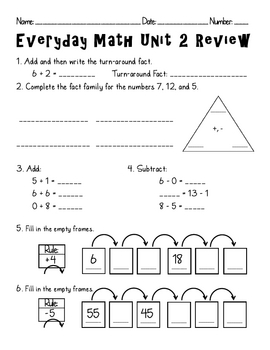 everyday math unit 2 review by amanda olson teachers pay teachers. Black Bedroom Furniture Sets. Home Design Ideas