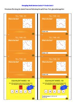 Everyday Math Unit 2 Review Cards Grade 3