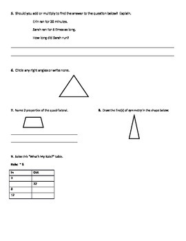 Everyday Math Common Core Unit 2 Review, Grade 4